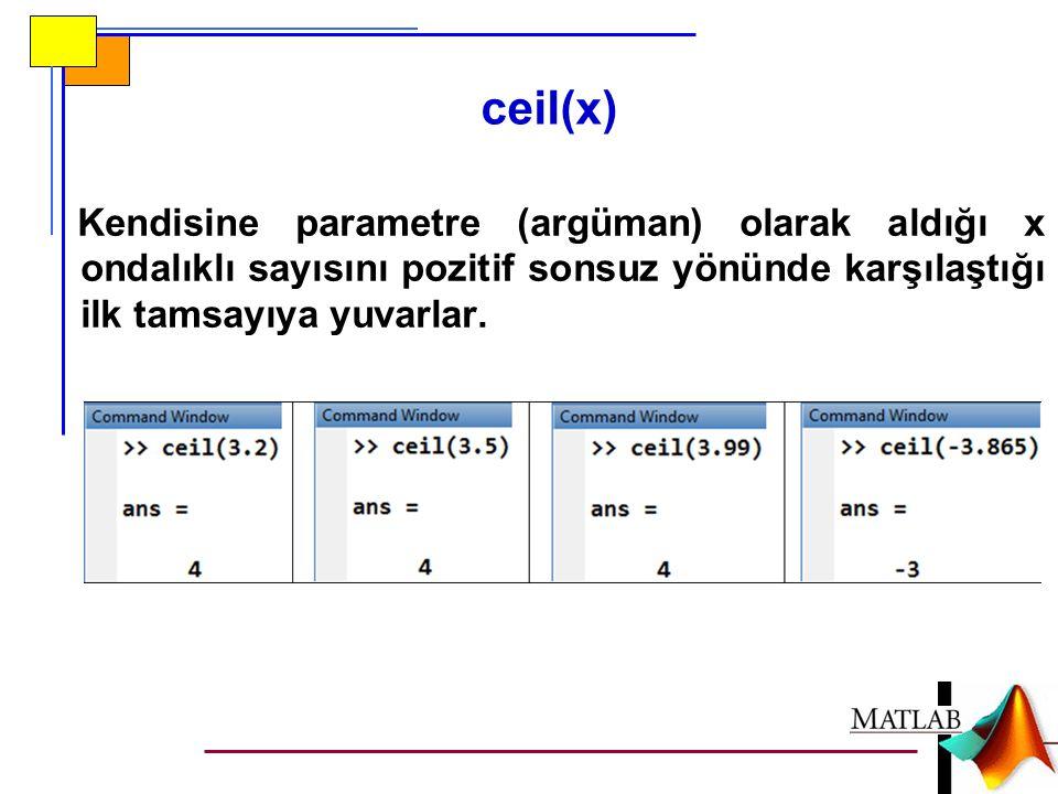 ceil(x) Kendisine parametre (argüman) olarak aldığı x ondalıklı sayısını pozitif sonsuz yönünde karşılaştığı ilk tamsayıya yuvarlar.