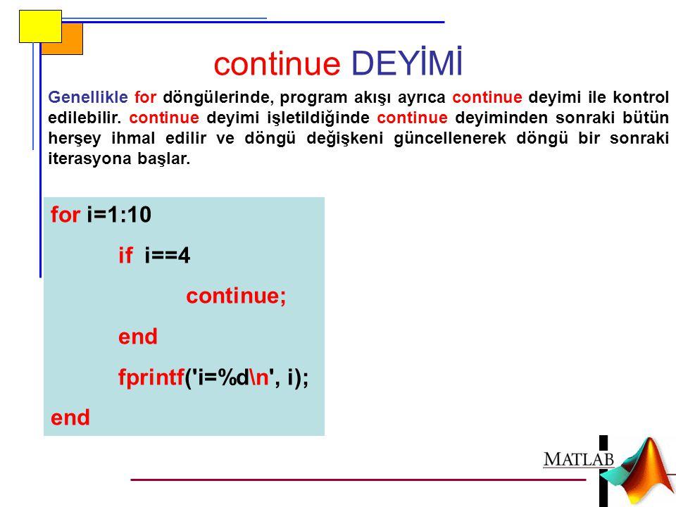 continue DEYİMİ for i=1:10 if i==4 continue; end fprintf( i=%d\n , i);