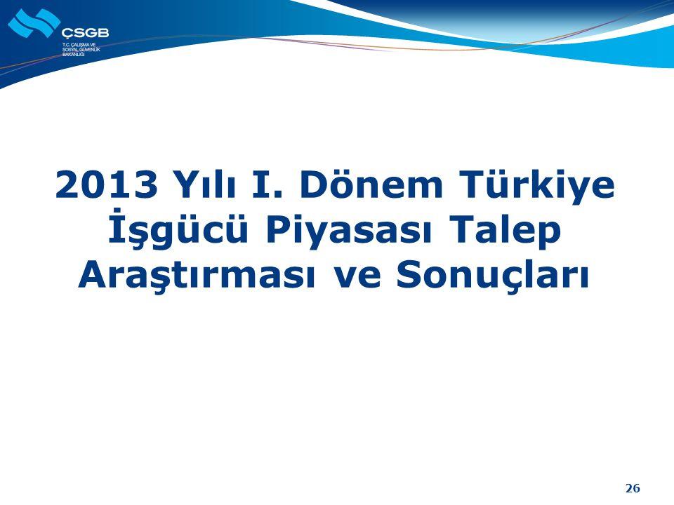 2013 Yılı I. Dönem Türkiye İşgücü Piyasası Talep Araştırması ve Sonuçları