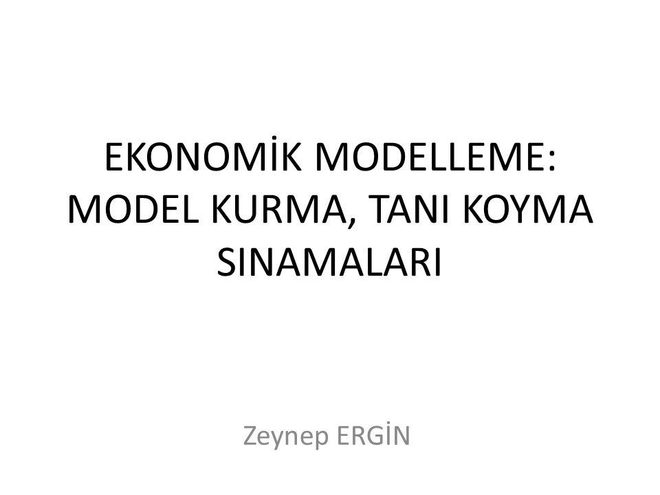 EKONOMİK MODELLEME: MODEL KURMA, TANI KOYMA SINAMALARI