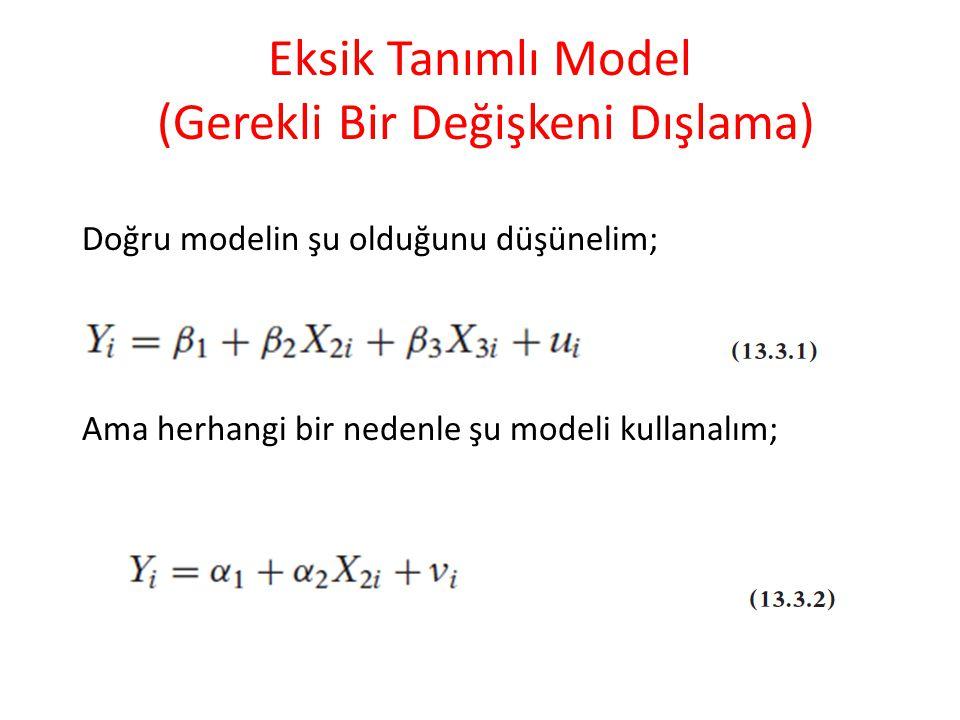 Eksik Tanımlı Model (Gerekli Bir Değişkeni Dışlama)