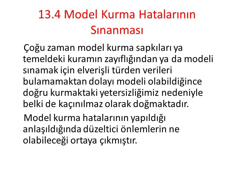 13.4 Model Kurma Hatalarının Sınanması
