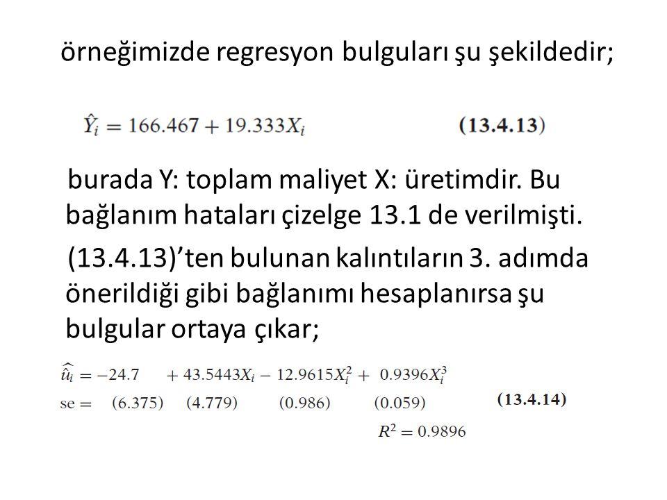 örneğimizde regresyon bulguları şu şekildedir; burada Y: toplam maliyet X: üretimdir.