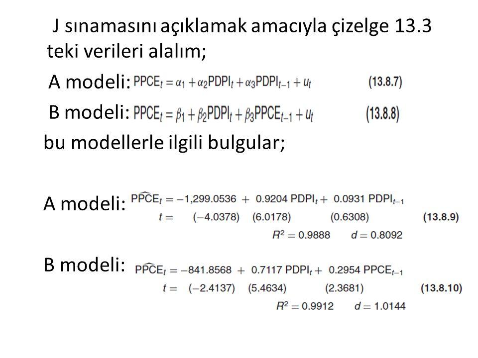 J sınamasını açıklamak amacıyla çizelge 13