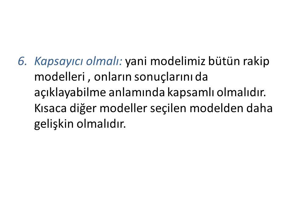 Kapsayıcı olmalı: yani modelimiz bütün rakip modelleri , onların sonuçlarını da açıklayabilme anlamında kapsamlı olmalıdır.