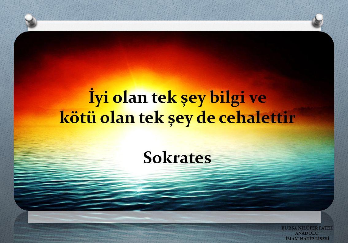 İyi olan tek şey bilgi ve kötü olan tek şey de cehalettir Sokrates