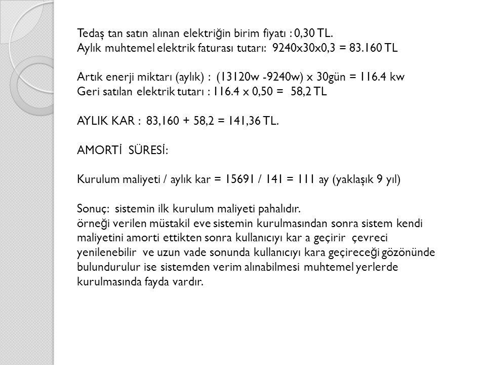 Tedaş tan satın alınan elektriğin birim fiyatı : 0,30 TL.