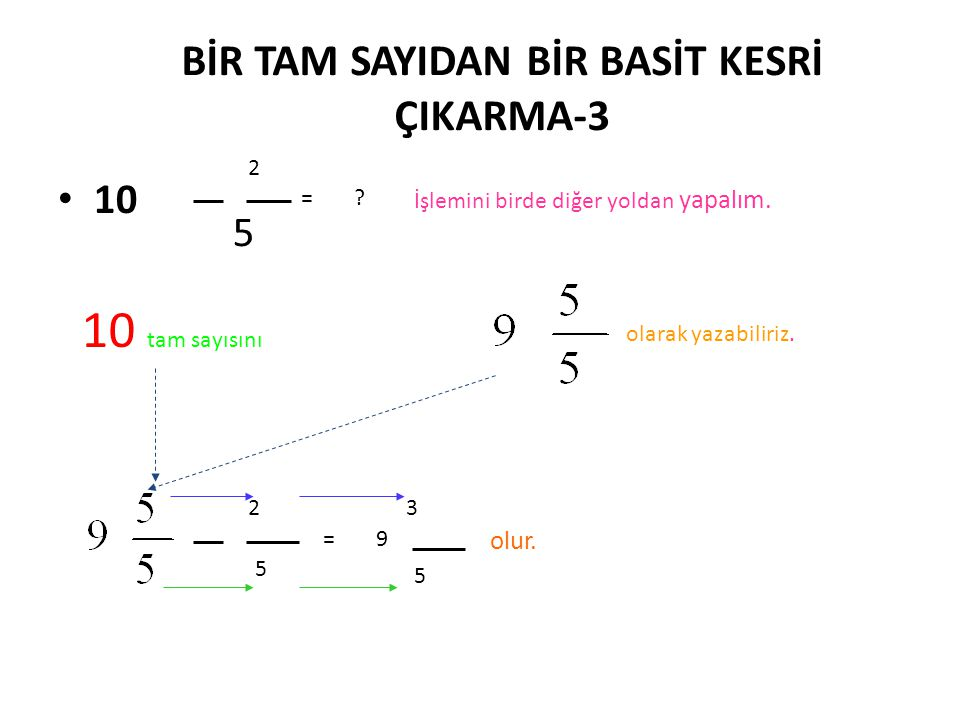 BİR TAM SAYIDAN BİR BASİT KESRİ ÇIKARMA-3