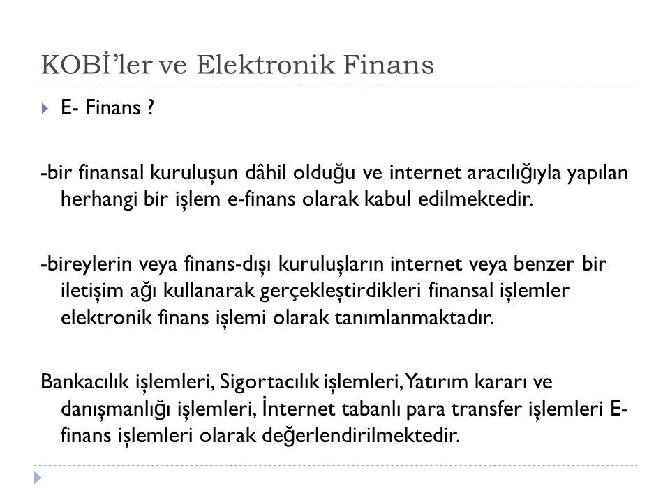 KOBİ'ler ve Elektronik Finans