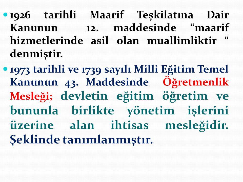 1926 tarihli Maarif Teşkilatına Dair Kanunun 12