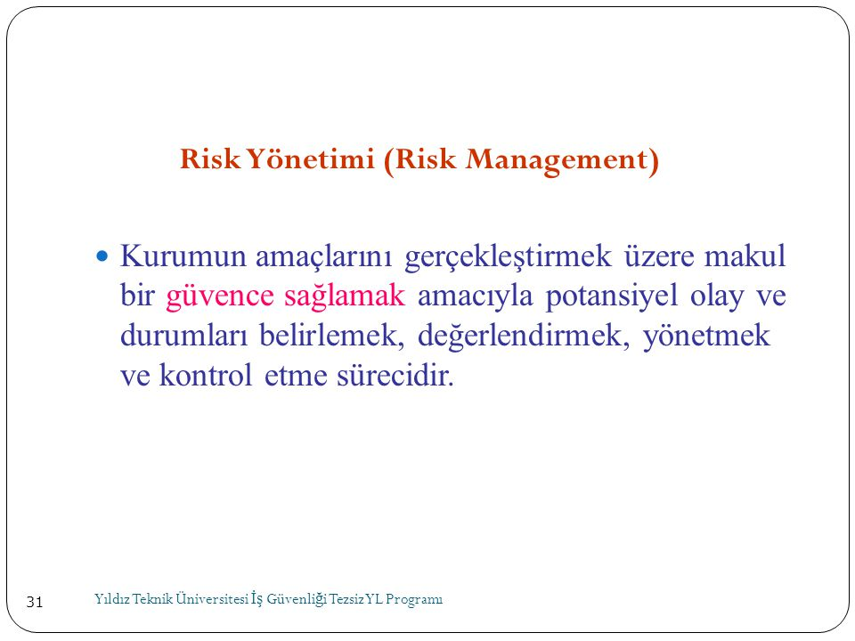 Risk Yönetimi (Risk Management)