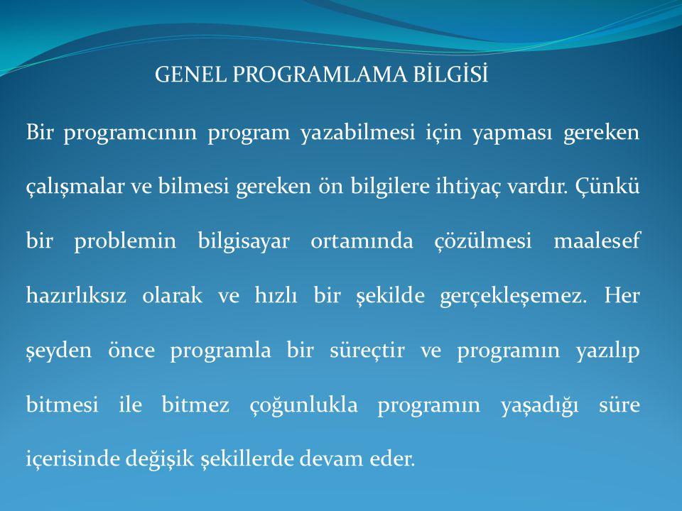GENEL PROGRAMLAMA BİLGİSİ