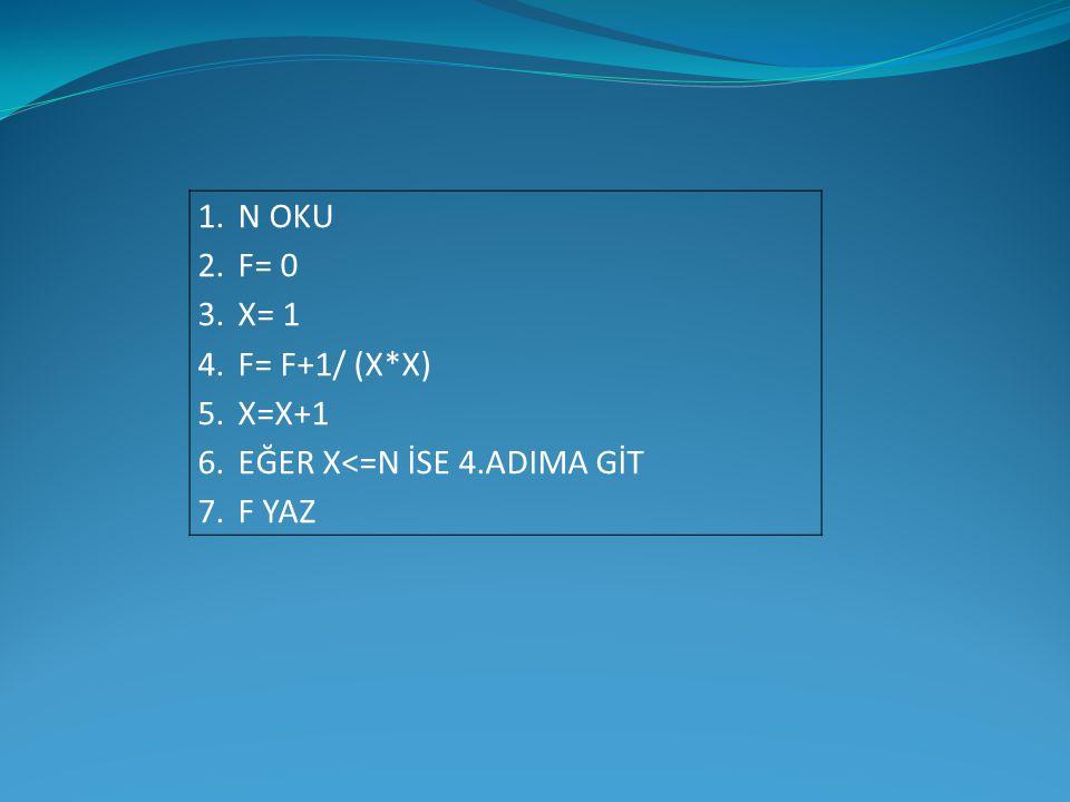 N OKU F= 0 X= 1 F= F+1/ (X*X) X=X+1 EĞER X<=N İSE 4.ADIMA GİT F YAZ