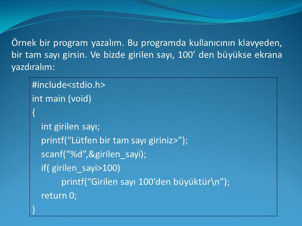 Örnek bir program yazalım