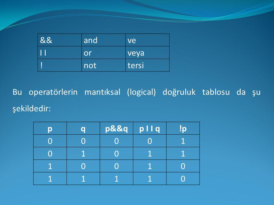 && and. ve. I I. or. veya. ! not. tersi. Bu operatörlerin mantıksal (logical) doğruluk tablosu da şu şekildedir: