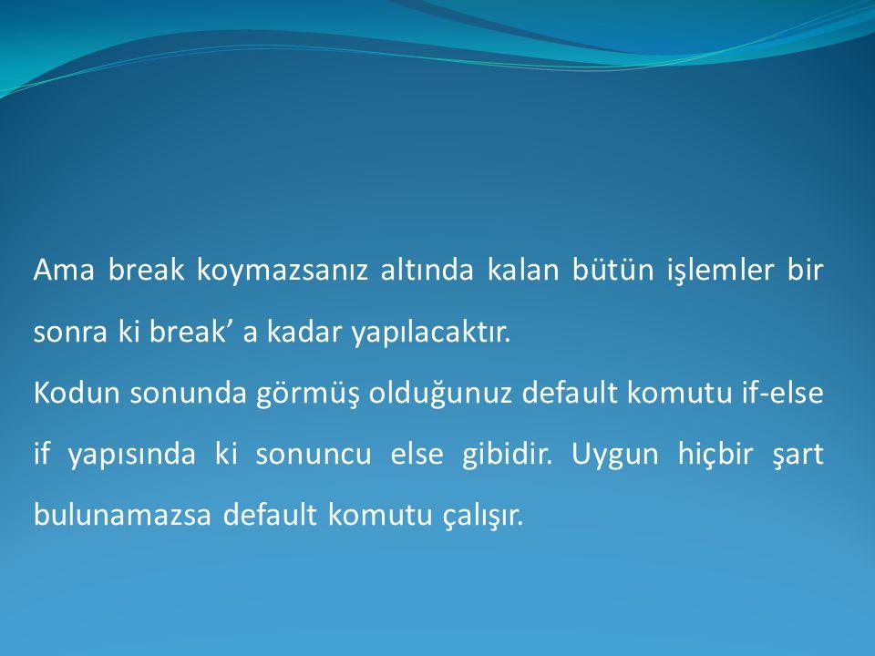 Ama break koymazsanız altında kalan bütün işlemler bir sonra ki break' a kadar yapılacaktır.