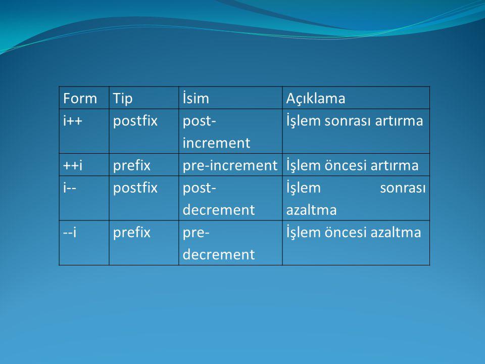 Form Tip. İsim. Açıklama. i++ postfix. post-increment. İşlem sonrası artırma. ++i. prefix. pre-increment.