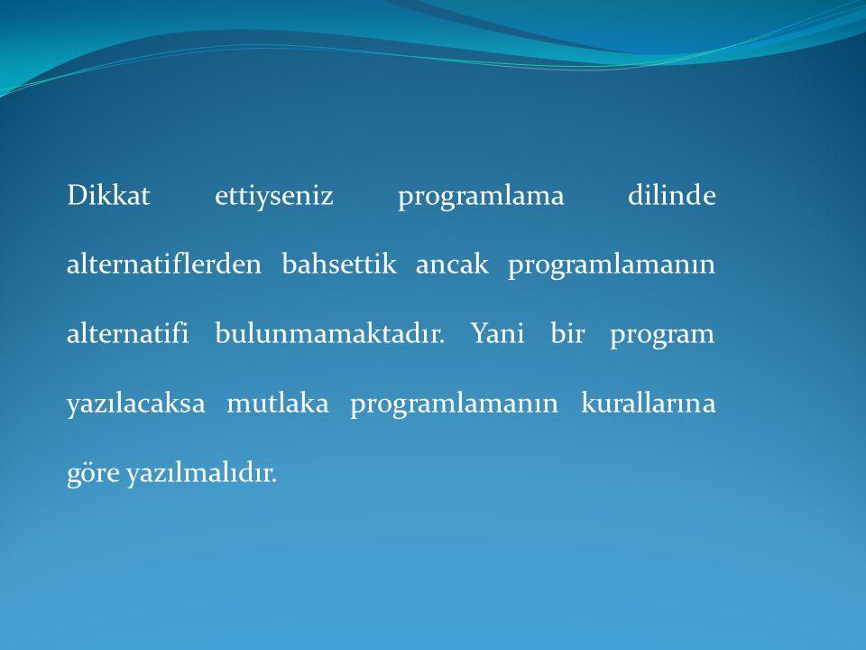 Dikkat ettiyseniz programlama dilinde alternatiflerden bahsettik ancak programlamanın alternatifi bulunmamaktadır.