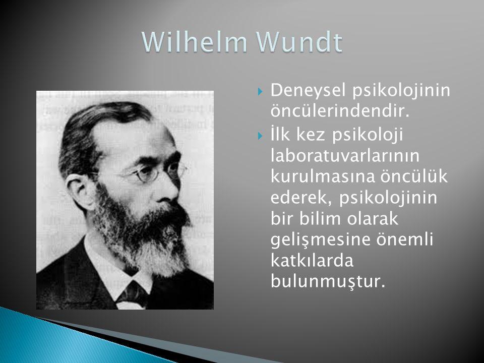 Wilhelm Wundt Deneysel psikolojinin öncülerindendir.