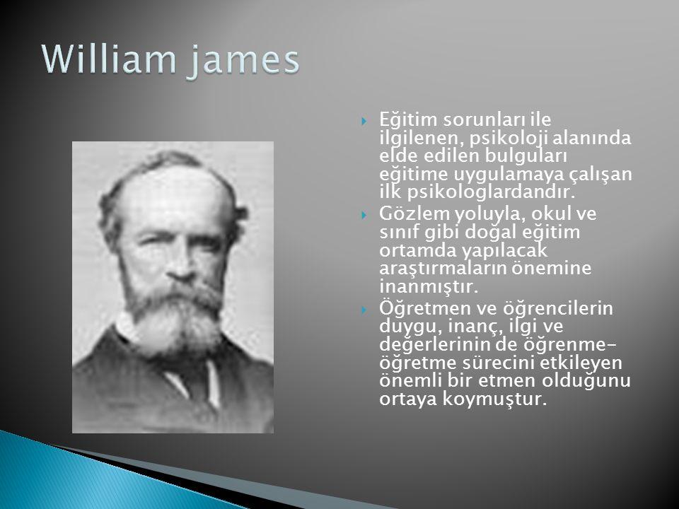 William james Eğitim sorunları ile ilgilenen, psikoloji alanında elde edilen bulguları eğitime uygulamaya çalışan ilk psikologlardandır.