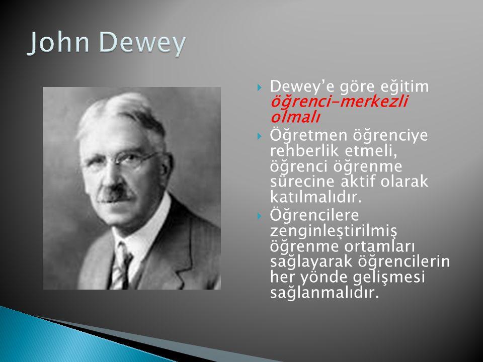 John Dewey Dewey'e göre eğitim öğrenci-merkezli olmalı