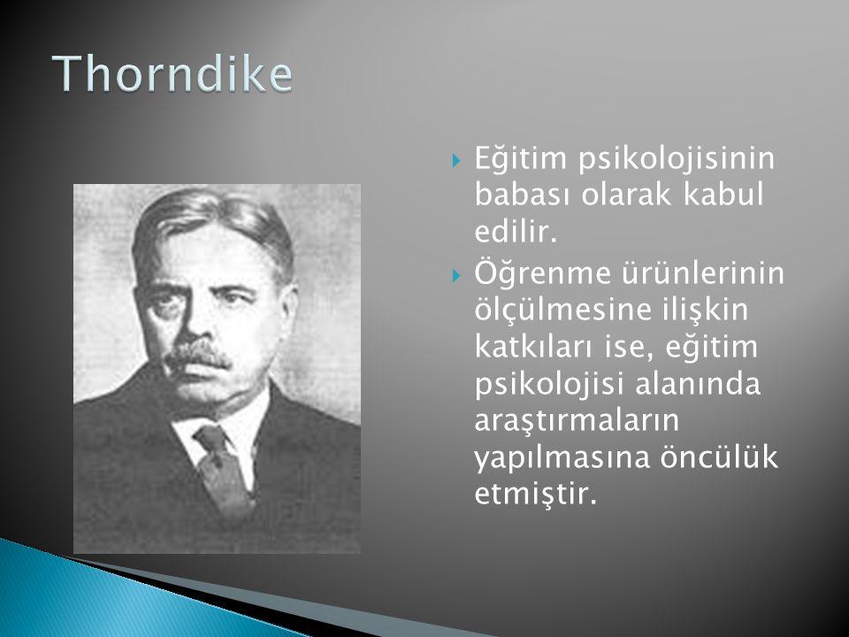 Thorndike Eğitim psikolojisinin babası olarak kabul edilir.