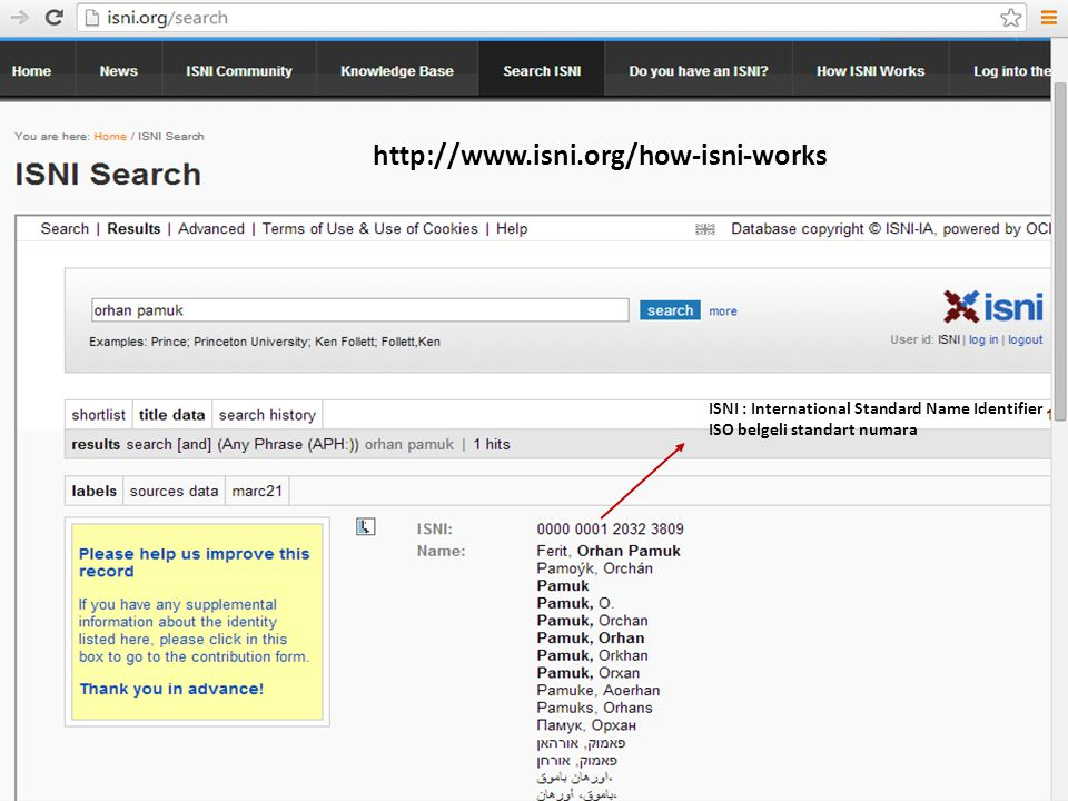 http://www.isni.org/how-isni-works ISNI : International Standard Name Identifier.