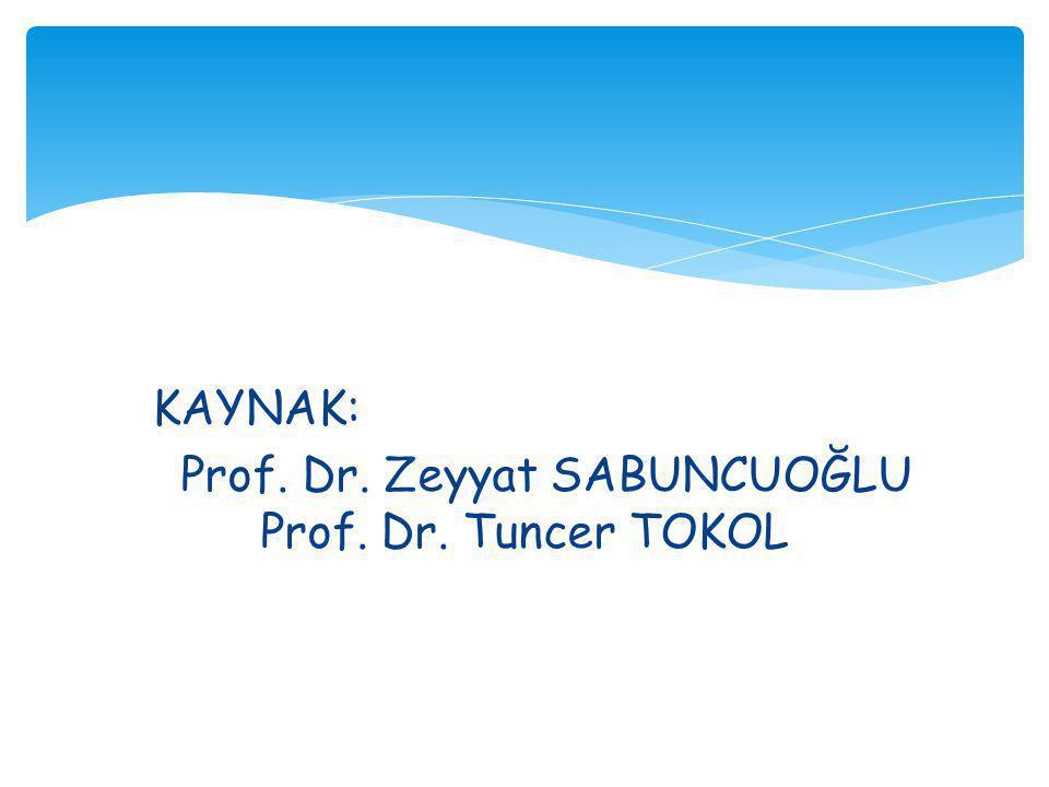 KAYNAK: Prof. Dr. Zeyyat SABUNCUOĞLU Prof. Dr. Tuncer TOKOL