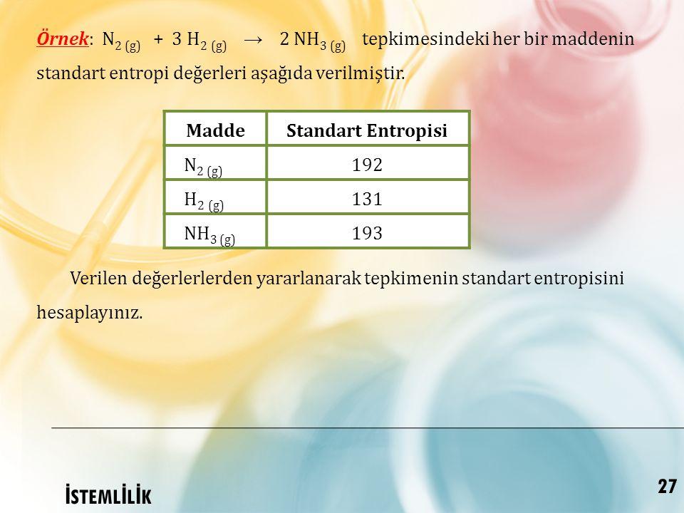 Örnek: N2 (g) + 3 H2 (g) → 2 NH3 (g) tepkimesindeki her bir maddenin standart entropi değerleri aşağıda verilmiştir.