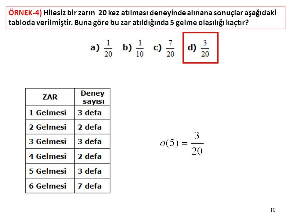 ÖRNEK-4) Hilesiz bir zarın 20 kez atılması deneyinde alınana sonuçlar aşağıdaki tabloda verilmiştir.