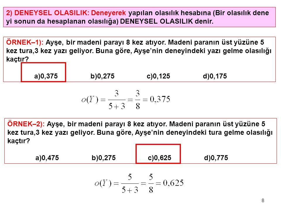 2) DENEYSEL OLASILIK: Deneyerek yapılan olasılık hesabına (Bir olasılık dene yi sonun da hesaplanan olasılığa) DENEYSEL OLASILIK denir.