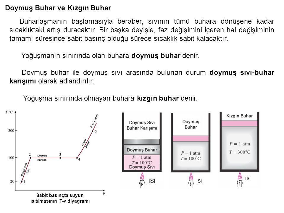 Sabit basınçta suyun ısıtılmasının T-v diyagramı