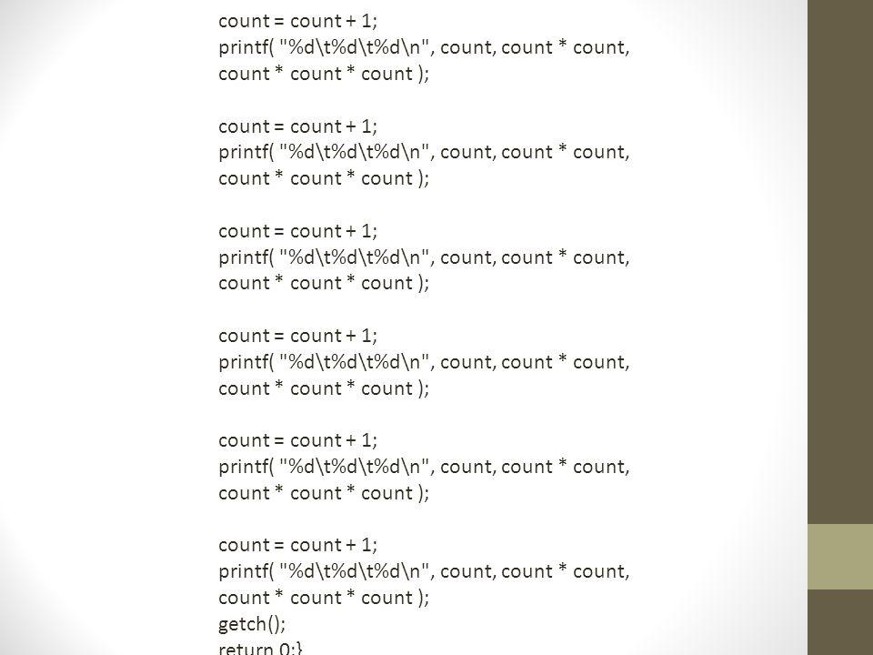 count = count + 1; printf( %d\t%d\t%d\n , count, count * count, count * count * count ); getch();