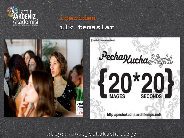 içeriden ilk temaslar http://www.pechakucha.org/