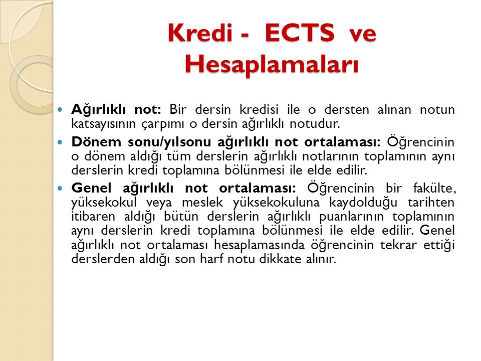 Kredi - ECTS ve Hesaplamaları