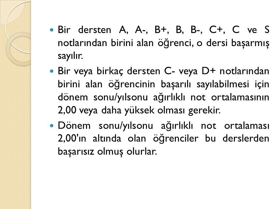 Bir dersten A, A-, B+, B, B-, C+, C ve S notlarından birini alan öğrenci, o dersi başarmış sayılır.