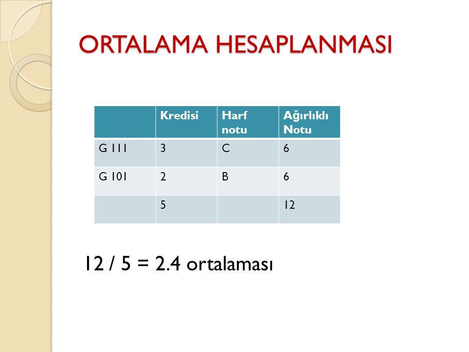 ORTALAMA HESAPLANMASI