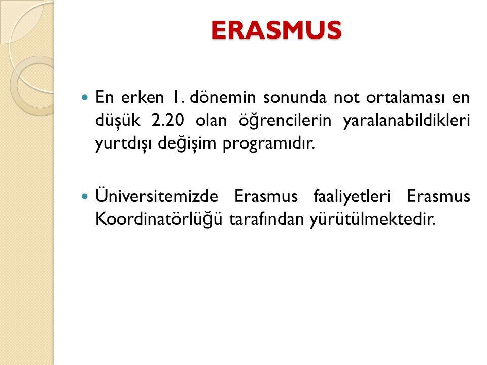 ERASMUS En erken 1. dönemin sonunda not ortalaması en düşük 2.20 olan öğrencilerin yaralanabildikleri yurtdışı değişim programıdır.