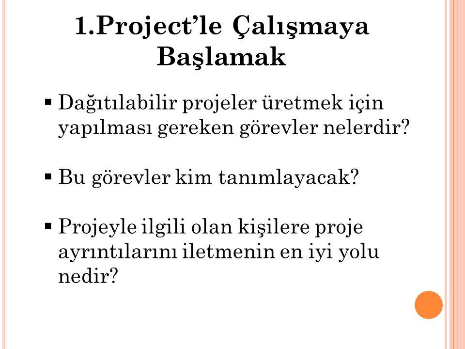 1.Project'le Çalışmaya Başlamak