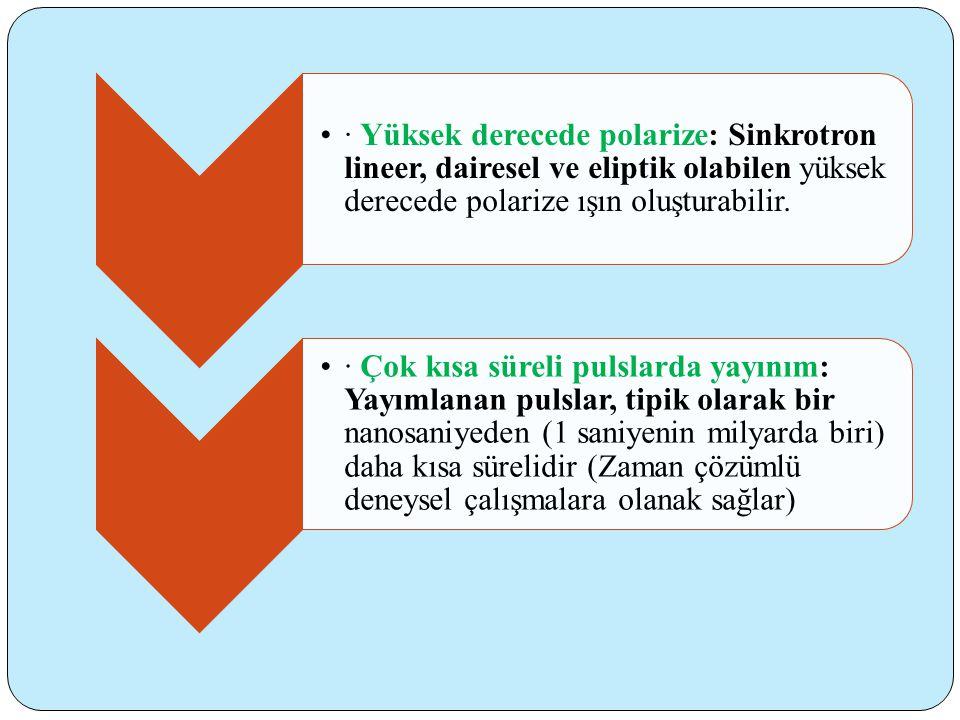 · Yüksek derecede polarize: Sinkrotron lineer, dairesel ve eliptik olabilen yüksek derecede polarize ışın oluşturabilir.