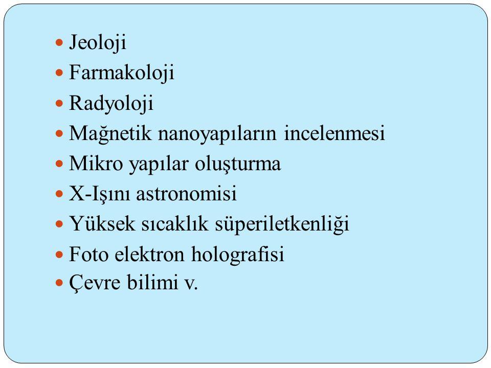 Jeoloji Farmakoloji. Radyoloji. Mağnetik nanoyapıların incelenmesi. Mikro yapılar oluşturma. X-Işını astronomisi.