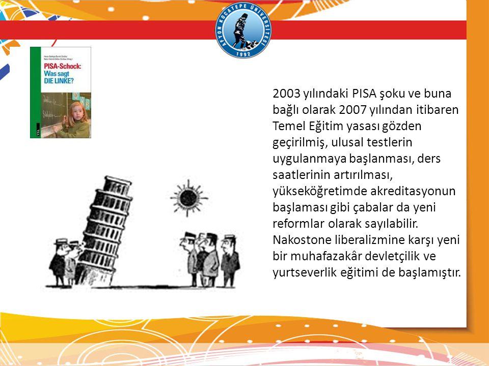 2003 yılındaki PISA şoku ve buna bağlı olarak 2007 yılından itibaren Temel Eğitim yasası gözden geçirilmiş, ulusal testlerin uygulanmaya başlanması, ders saatlerinin artırılması, yükseköğretimde akreditasyonun başlaması gibi çabalar da yeni reformlar olarak sayılabilir.