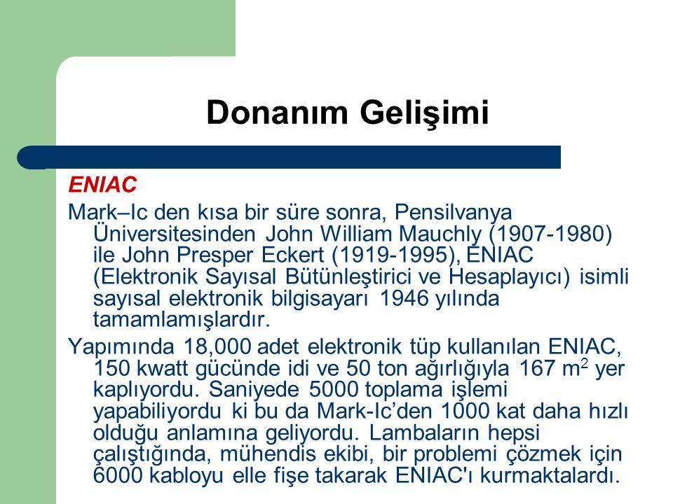 Donanım Gelişimi ENIAC