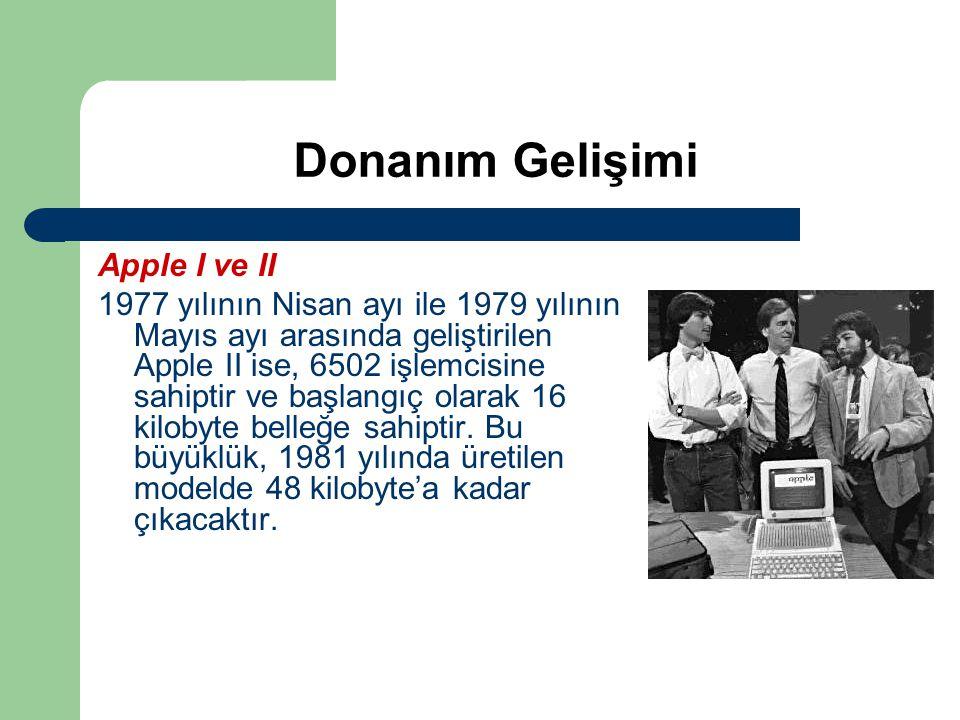 Donanım Gelişimi Apple I ve II