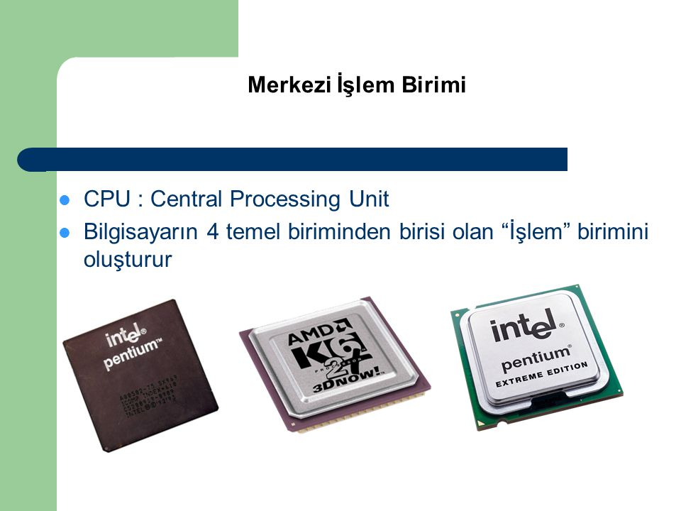 CPU : Central Processing Unit