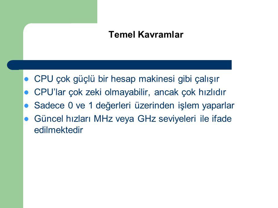 CPU çok güçlü bir hesap makinesi gibi çalışır