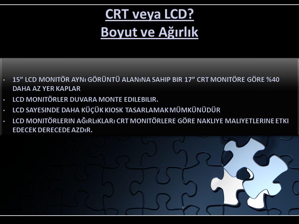 CRT veya LCD Boyut ve Ağırlık