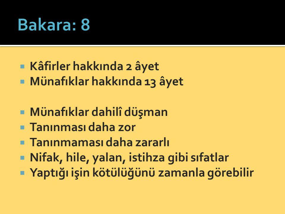 Bakara: 8 Kâfirler hakkında 2 âyet Münafıklar hakkında 13 âyet