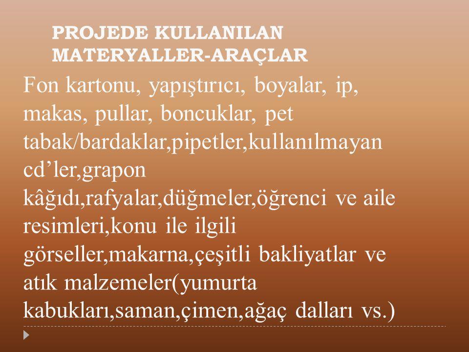 PROJEDE KULLANILAN MATERYALLER-ARAÇLAR
