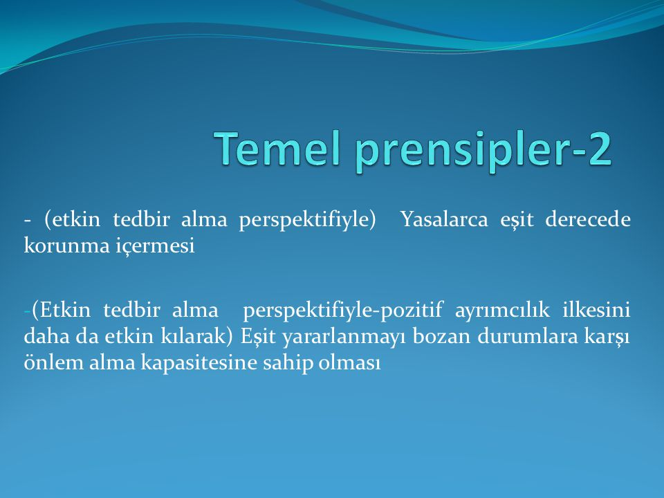 Temel prensipler-2 - (etkin tedbir alma perspektifiyle) Yasalarca eşit derecede korunma içermesi.